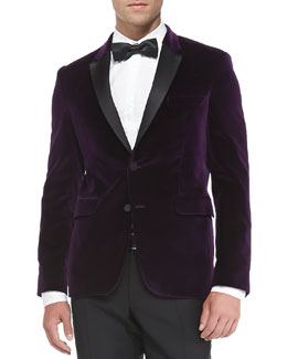 Burberry London Velvet Evening Jacket, Plum