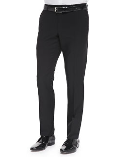 Burberry London Wool/Mohair Tailored Trousers, Black