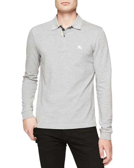 Burberry Brit Long-Sleeve Pique Polo, Gray Melange