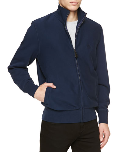 Jersey Zip-Front Jacket, Navy
