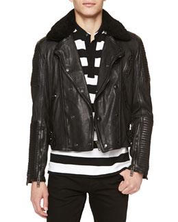 Burberry Brit Shearling-Collar Leather Biker Jacket