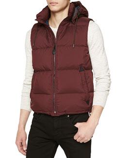 Burberry Brit Quilted Hooded Puffer Vest, Dark Plum