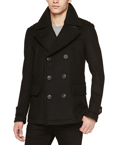 Burberry Brit Double-Face Pea Coat, Black
