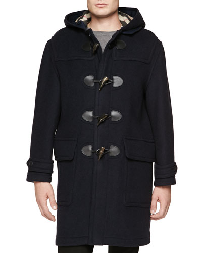 Burberry Brit Long Wool Duffle Coat, Navy