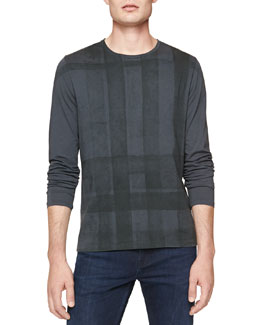 Burberry Brit Long-Sleeve Check-Graphic Tee, Gray