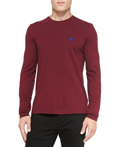 Burberry Brit Long-Sleeve Crewneck Tee, Dark Plum