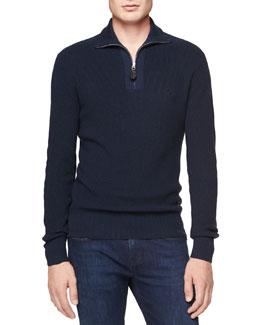 Burberry Brit Cashmere-Cotton 1/2-Zip Sweater, Navy