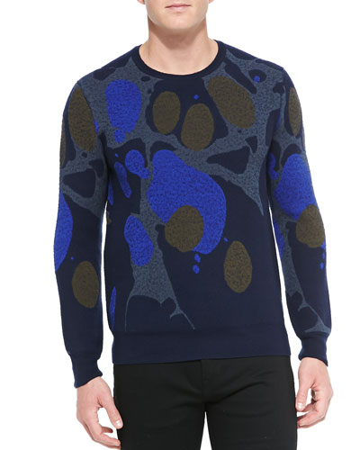 Burberry Brit Marble-Print Crewneck Sweater, Pewter