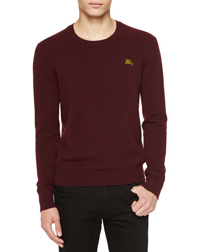 Burberry Brit Cashmere Crewneck Sweater, Deep Claret