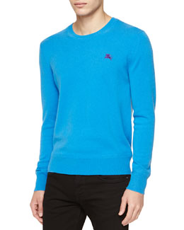 Burberry Brit Cashmere Crewneck Sweater, Blue