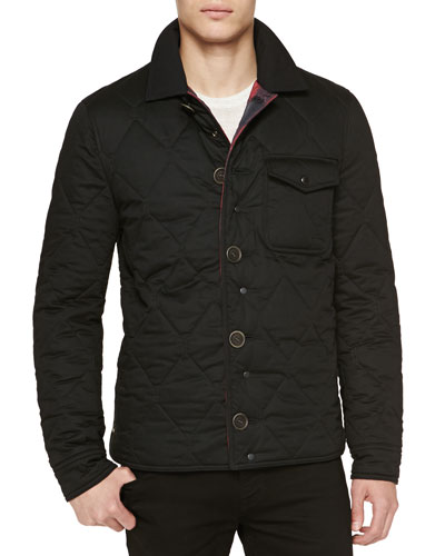 Burberry Brit Solid/Plaid Reversible Shirt Jacket, Black