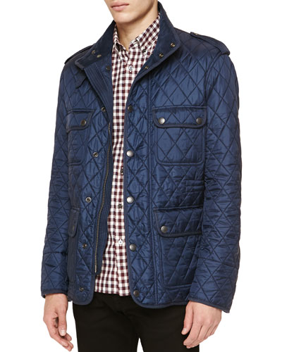 Diamond-Quilted Field Jacket, Navy