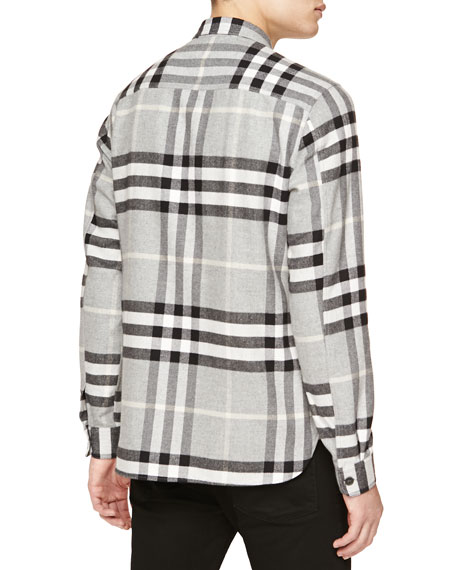 Burberry brit super soft check flannel shirt gray for Super soft flannel shirts
