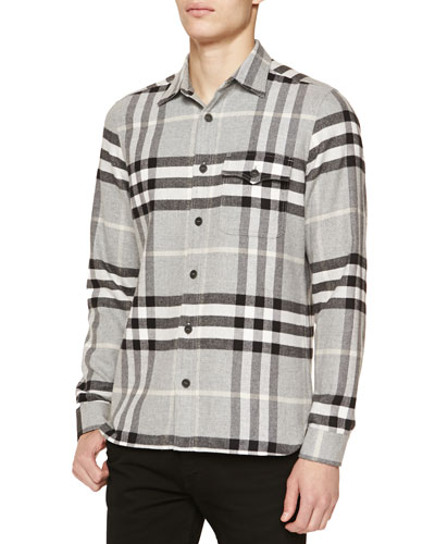 Burberry Brit Super-Soft Check Flannel Shirt, Gray