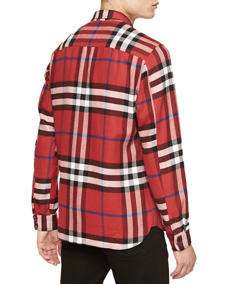burberry brit super soft check flannel shirt red