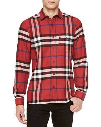 Burberry Brit Super-Soft Check Flannel Shirt, Red