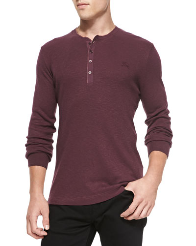 Burberry Brit Ribbed Long-Sleeve Henley, Burgundy