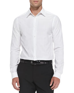 Burberry London Woven Button-Down Shirt, White