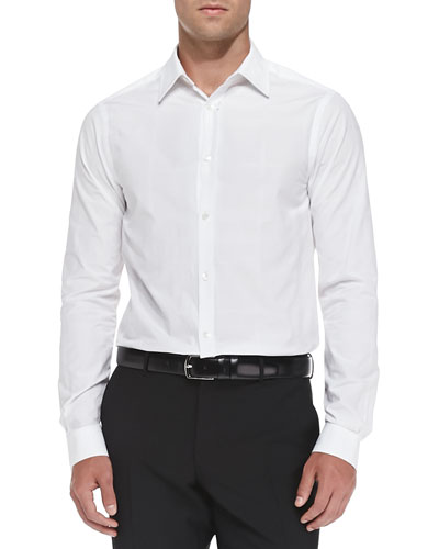 Burberry London Woven Button-Down Shirt, White