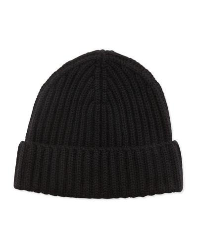 Neiman Marcus Ribbed Knit Hat, Black