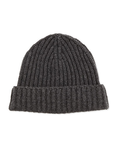 Neiman Marcus Ribbed Knit Hat, Gray