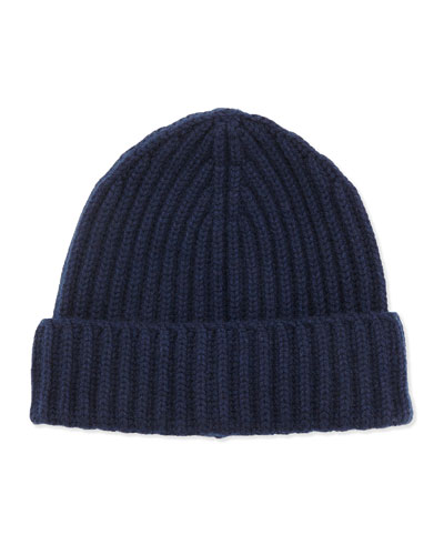 Neiman Marcus Ribbed Knit Hat, Navy