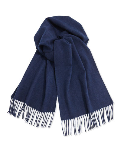 Neiman Marcus Cashmere Solid Fringe Scarf, Navy