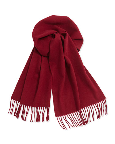 Neiman Marcus Cashmere Solid Fringe Scarf, Natural