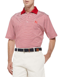 Peter Millar Nebraska Striped Gameday College Polo Shirt