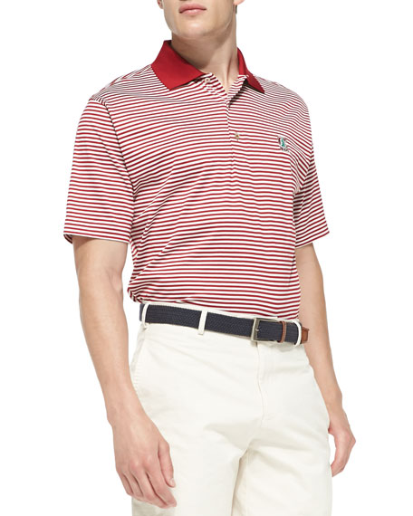 Peter millar stanford striped gameday college polo shirt for Peter millar women s golf shirts