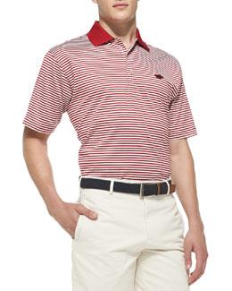 Peter Millar University of Arkansas Striped Gameday College Polo Shirt