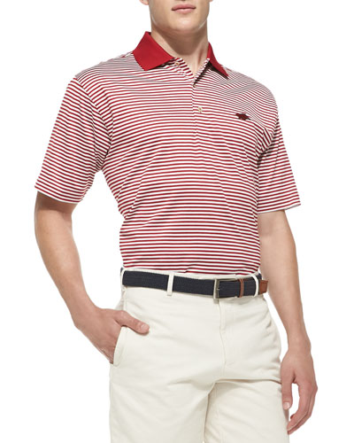 Peter Millar University of Arkansas Striped Gameday College Polo Shirt