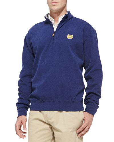 Peter Millar Notre Dame Gameday Cotton-Fleece Pullover, Navy
