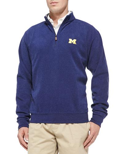 Peter Millar University of Michigan Gameday Cotton-Fleece Pullover, Black