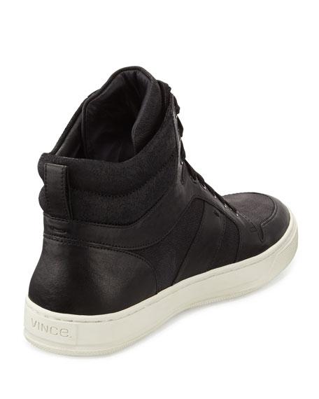 Vince Adam Leather High-Top Sneaker, Black