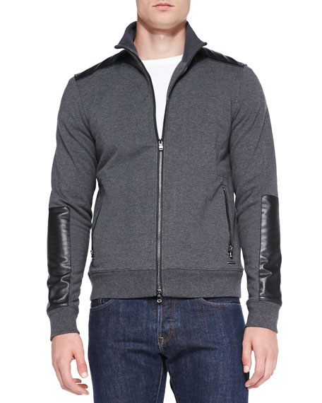 Michael Kors Leather/Knit Zip Jacket