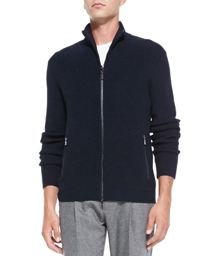 Michael Kors  Shaker-Knit Front-Zip Sweater