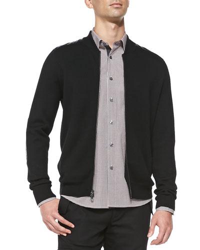 Leather-Trim Knit Bomber Jacket