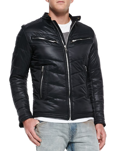 Diesel Jurvi Padded Nylon Moto Jacket, Black