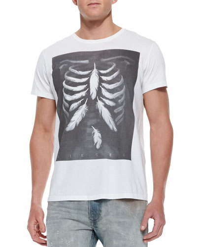 Diesel T-Rolt Feather-Skeleton Tee, White
