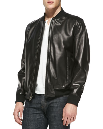 Andrew Marc Leather Jacket with Removable Fur Liner, Black