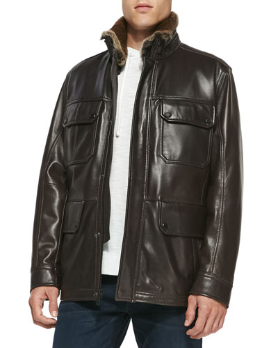 Andrew Marc Fur-Trim Leather Car Coat, Dark Brown