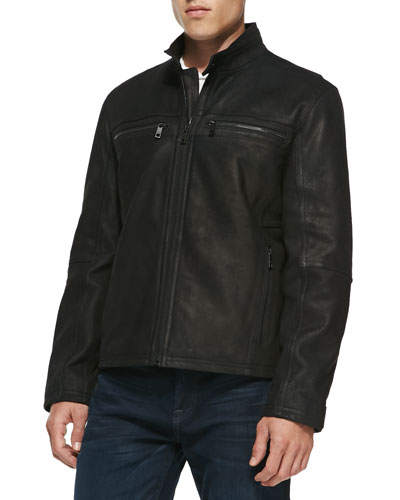 Andrew Marc Distressed Leather Jacket, Navy