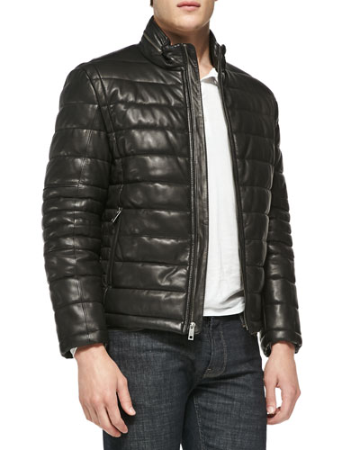 Andrew Marc Quilted Leather Jacket, Black