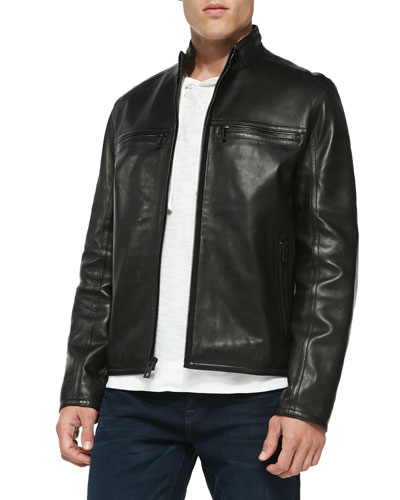 Luxe Leather Moto Jacket, Black