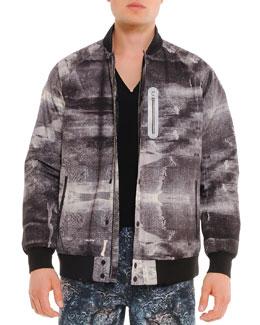 Uppercut Graphic-Print Varsity Jacket, Gray