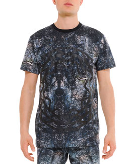 Uppercut Mercurio Allover Printed Tee, Black/Blue