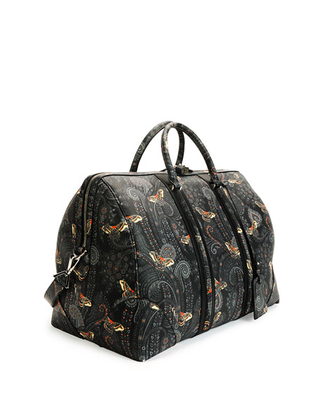 758487cdbbdd Givenchy Paisley-Print Leather Weekender Bag