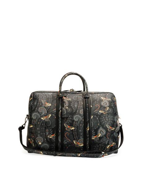 Paisley-Print Leather Weekender Bag, Black