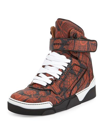 Tyson Paisley-Printed High-Top Sneaker, Black/Orange